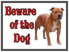 staffordshire bull terrier Beware of the Dog  Design Metal Door Sign