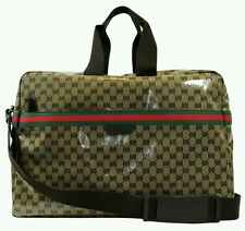 NWT NEW Gucci large crystal logo coated duffel travel bag red green web 374770