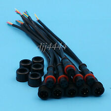 5Pairs 4Pin 24AWG IP65 Black Waterproof LED Strips Cable Wire Connector OD 4mm