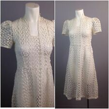 Vintage 1930s White Sheer Cotton Lace Tie Eyelet Embroidery Dress Art Deco S