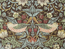 "WILLIAM MORRIS CURTAIN FABRIC ""Strawberry Thief"" 3.6 METRES CHOCOLATE & SLATE"
