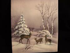"VINTAGE ""DEER FAMILY IN THE SNOWY FIELDS!!"" CHRISTMAS GREETING CARD"
