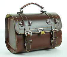 Small Leather Top Case Front Rack Roll Bag Vespa PX LXV GTS GTV, Vintage Brown