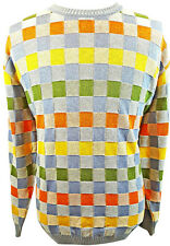 NORM THOMPSON Sweater Size XXL Men's Colorful Checkered L/S Made in Italy