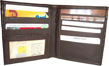 Leather Hipster wallet USA Euro billfold brown bifold zip coin purse wallet BNWT