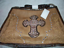 NEW Brown Embellish Cross Western Cowgirl  RHINESTONE HOBO PURSE TOTE BAG SACHEL