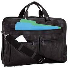 New Black  Leather Briefcase Messenger Shoulder Laptop Bag FREE SHIP Pro Case