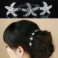 10 Hair Pins Starfish Star Flower Wedding Rhinestone Tiara Diadem Accessories