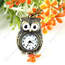 Lovely Vintage Bronze Owl Pendant Quartz Pocket Watch Necklace Chain Gift