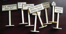Lot of Vintage O Scale Plastic Metal Road Signs and Store Sign