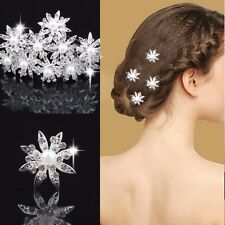 Pearl Crystal Bridal Wedding Prom Sparkly Fairy Star Flower Hair Pins Accessory