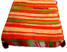 Moroccan Hand Woven Kilim Wool Square Ottoman Pouf Chair in Multi Color Stripes