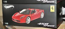 1/18 Mattel Hotwheels Elite RED Ferrari 458 spider Limited Edition