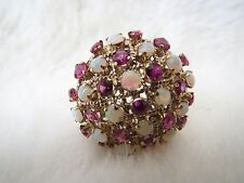 Vintage Retro 18K Ruby & Opal 3mm Round Stone Cluster Ring Size 9.5 Excellent !!