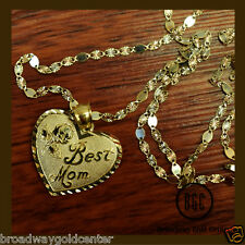 Best Mom Heart Pendant & Valentino Mirror Link Chain 14k Yellow Gold ON SALE!!