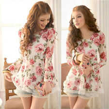 Korean Fashion Women's Rose Chiffon Tops Long Sleeve Shirt Lace Blouse Dress