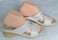 Flyflot Ladies White Leather Wedge Mules Sandals Shoes UK Size 5 EU 38
