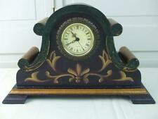 French Country Wood Mantel Clock Painted Black Gold Crackle Finish Fleur de Lis