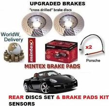 FOR PORSCHE BOXSTER 987 2.7 2004-2009 REAR DRILLED BRAKE DISCS & PADS & SENSORS