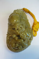 "Fine natural Grade A yellow jade carved ""PI Xiu"" statue"