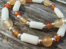 Yellow Agate and White Mountain Jade Handmade Beaded Short Necklace w/ Silver