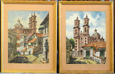2 Water Color Paintings of Taxco, Mexico Landmarks Signed by Artist Alba