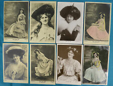 8x Real Photo RP Postcard Edwardian Actress Miss Zena Dare Glamour