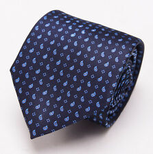 NWT $230 BRIONI Slim Satin Silk Tie Midnight Navy-Sky Blue Mini Paisley Print