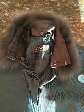 DANA BUCHMAN RARE PEACOCK DESIGN, EMBROIDERED, FOX FUR COLLAR JACKET- SZ 6