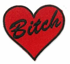 BITCH HEART Red iron on/sew on Embroidered Patch Applique DIY (US Seller)