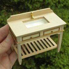 Unfinished Wood Fancy Kitchen Bathroom Sink Table Counter - Dollhouse Miniature