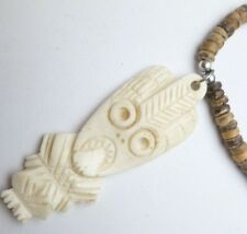 Buffalo Bone Powder White Tiki Pendant Brown Beads Cord Coconut Necklace # 30213