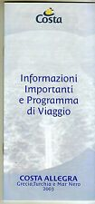 Brochure COSTA ALLEGRA Informazioni e Programma di Viaggio - 2003