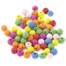 100Pcs Multi Color Stripy Wooden Round Loose Beads Bracelet Jewelry Making