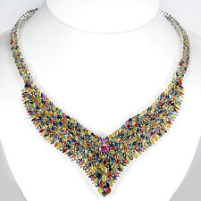 525 CTS!!! MAGNIFICENT! NATURAL AAA MULTI-COLOR SAPPHIRE RUBY 925 SIVER NECKLACE