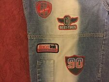 "EUC Ruff N Tuff Jeans Co. 38""/32"" 38x32 Racing Patch Jeans Heavy Distressed Wash"