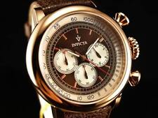 Invicta Men Bomber Jeep Vintage Chronograph 18KRGIP SS Brown Leather Strap Watch