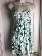 New with tags FREE PEOPLE  COTTON GREEN MULTI DRESS GEO DESIGN EMPIRE WAIST 10