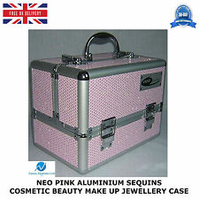 2 X PINK ALUMINIUM SEQUINS COSMETIC BEAUTY VANITY MAKE UP JEWELLERY SALOON CASE