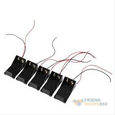 5PCS 9V Volt PP3 Battery Holder Box DC Case With Wire Lead ON/OFF Switch Cover
