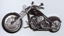 Iron On Embroidered Applique Patch Black and White Motorcycle Bike