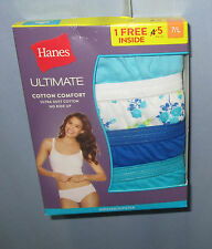 HANES~L 7~5 Pr Solid/Floral Multi-Color Ultimate Comfort Cotton Hipster Panties