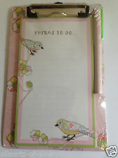 Notes to Do on Clipboard Clip Board Pink with Birds Memo Note Pad & Pen