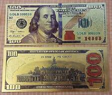 """New Style"" 999 24k Gold Leaf  $100 One Hundred Dollar Bill Banknote + Sleeve"