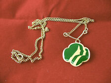 Girl Scout NECKLACE 3-Face Logo Beautiful gold looped Bar RARE Christmas GIFT