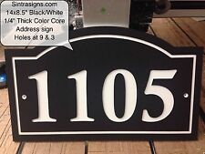 "Arched House Number Sign  Address Plaque Black/White 1/4"" King ColorCore Engrave"