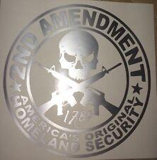 2ND AMENDMENT GUN* vinyl decal sticker Truck Diesel car hunting Silver funny