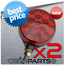 """2X NEW 4"""" RED LED ROUND PEDESTAL CAB FENDER TRUCK TRAILER TURN SIGNAL STOP LIGHT"""