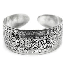 1Pc Popular Tibet Silver Lucky Totem Carved Cuff Broad Bangle Bracelet Hot Sale