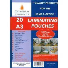 A3 150/250 micras laminado bolsas en paquetes de 20